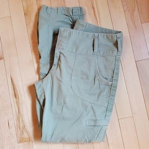 Athleta Ruched Stretchy Green Pants SZ 10